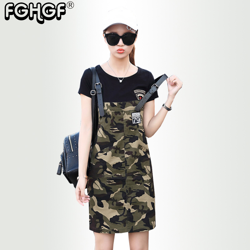 Military Camouflage Women's Belt dress Summer New Fashion Cotton Loose Casual Belt dress Plus Size 2018 New Style Straight 4601