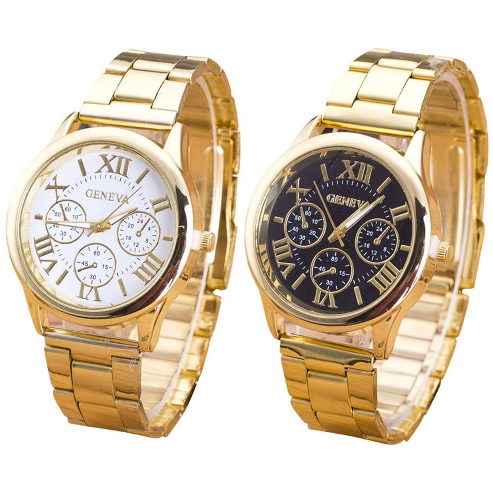 Clock Geneva Ladies Watch Roman Numerals Quartz Stainless Steel Wrist Men Watch Casual Women Watches Women Relogio Feminino  hot luxury brand geneva fashion men women ladies watches gold stailess steel numerals analog quartz wrist watch for men women