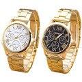 Relógio de Genebra Senhoras Relógio de Algarismos Romanos Quartzo relógio de Homens de Pulso De Aço Inoxidável Assista Casual Mulheres Relógios Mulheres Relogio feminino