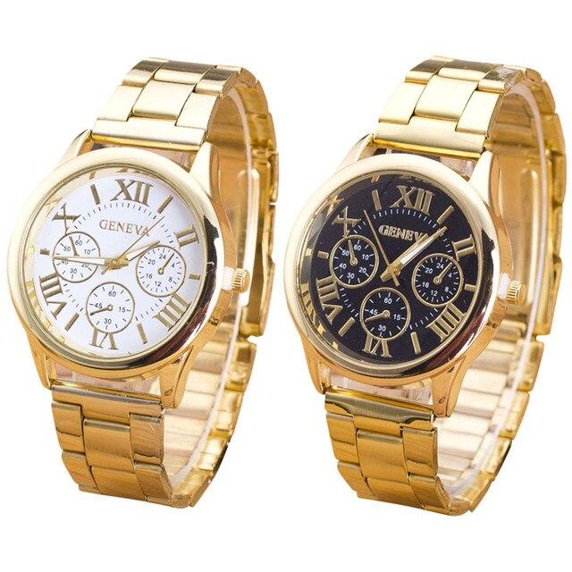 5ad27c4b07b Relógio de Genebra Senhoras Relógio de Algarismos Romanos Quartzo relógio  de Homens de Pulso De Aço