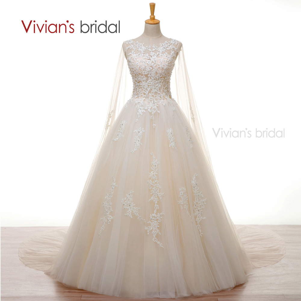 Vivian 39 s bridal crystal pearls white lace champagne for White and champagne wedding dress