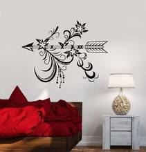 Della parete del vinile della decalcomania freccia camera da letto salone della decorazione della casa di arte murale carta da parati con camera da letto in stile del fiore etnico decorationstickerWS14