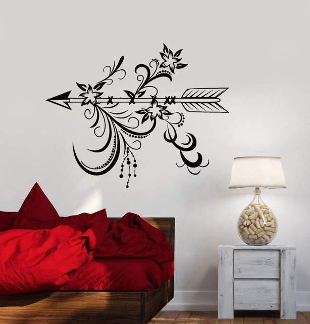 Vinyl wall decal arrow bedroom living room home decor art mural wallpaper with flower ethnic style bedroom decorationstickerWS14