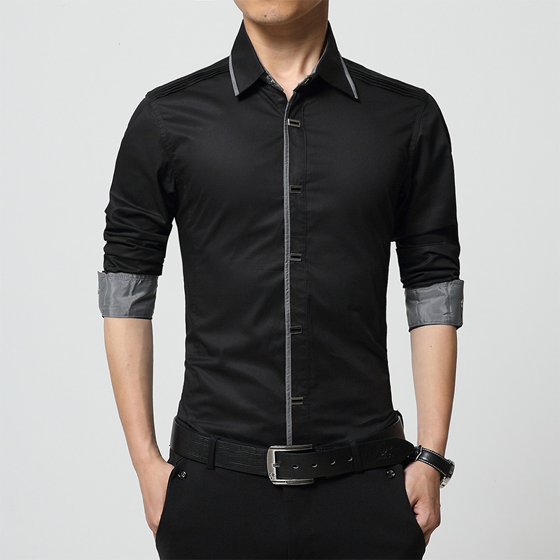 100 Cotton Solid Color Mens Dress Shirts Long Sleeve Slim Fit Men Casual Shirt Brand Clothing