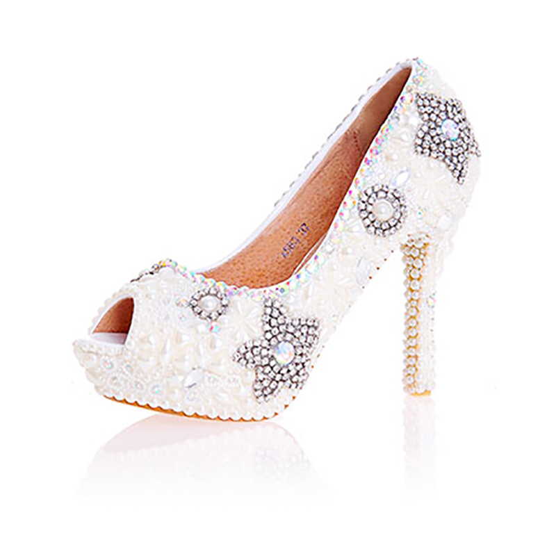Womens Wedding Beige Pearl Peep Toe Shoes Crystal Decor Pumps Sexy Bride High Heels Female Rhinestone Platform Party Shoe