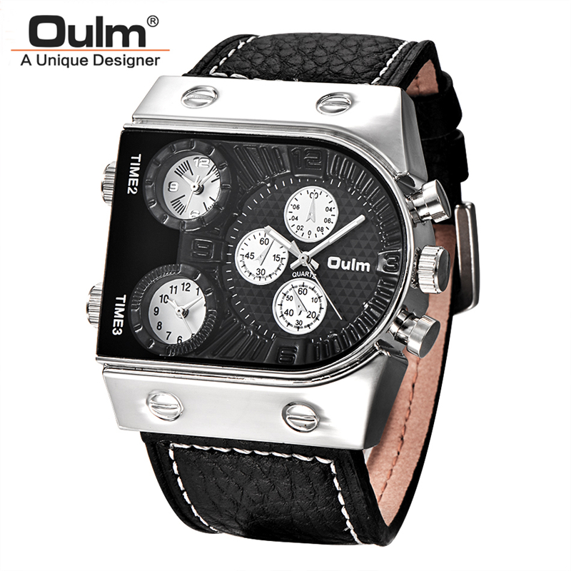 Oulm Sports Men Watches Three Time Zone Big Quartz Watch Male Brand Genuine Leather Military Hours Wristwatch relojes hombre top brand luxury oulm 2 time zone men watches military sports quartz watch 2017 men rose golden case relogio masculino box