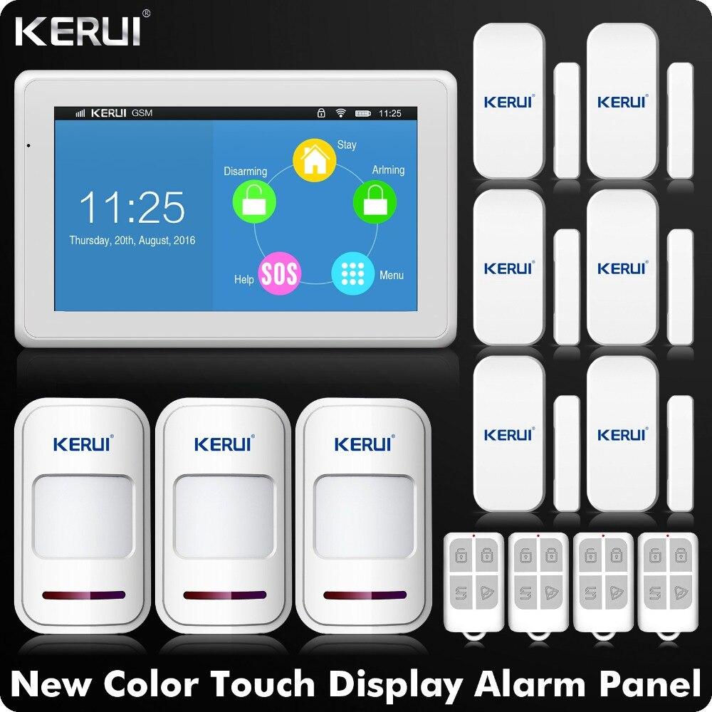 Kerui K7 WI-FI GSM сигнализация Системы 7 дюймов TFT Цвет Дисплей Сенсорный экран сигнализации дома Системы безопасности с детектор движения PIR