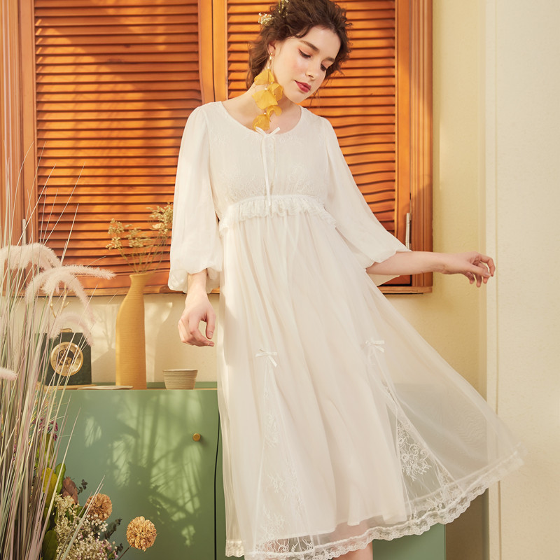 2019 Palace Princess Sleeping Dress Women Nightgown Classical Long Nightwear Lace Trimming Nightdress Summer Spring White Pink