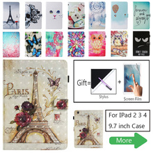 For iPad 2 3 4 Case, Cartoon Owl Butterfly Cat Pattern PU Leather for iPad2/3/4 Coque Cover Smart Stand for iPad 3 9.7 inch Capa стоимость