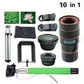 10in1 universal 8x de zoom telescópio lentes lentes + 3in1 fisheye wide angle lens macro tripé selfie vara monopé móvel com clips