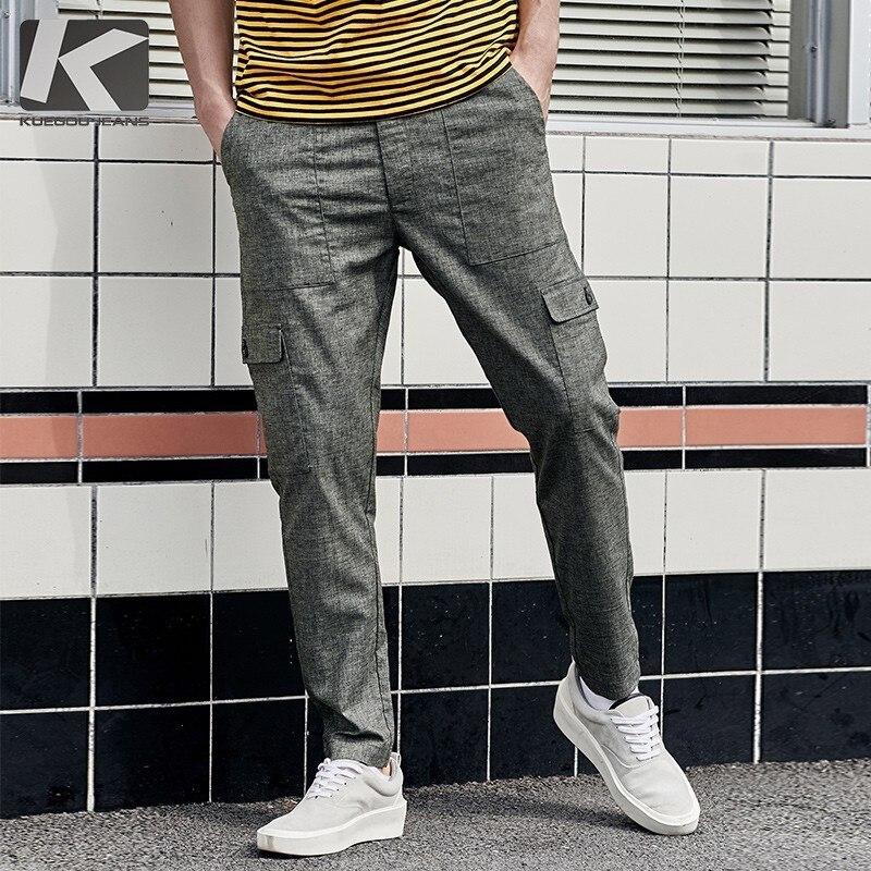 Été 2019 nouveaux hommes décontracté Cargo pantalon solide gris vert couleur poche pour homme mode Slim homme porter Long pantalon 1912