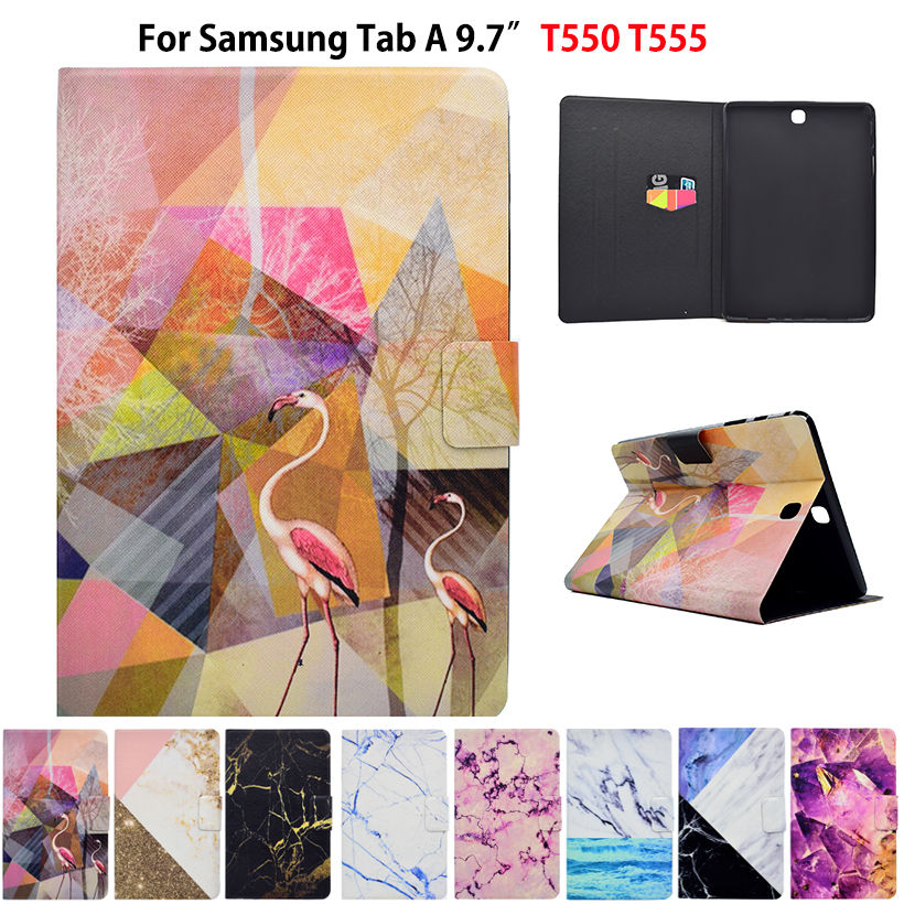 Marble Pattern Case For Samsung Galaxy tab A 9.7 T550 SM-T555 P550 P555 Case Smart Cover Funda Tablet PU Leather Stand Skin bf luxury painted cartoon flip pu leather stand tablet case for funda samsung galaxy tab a 9 7 t555c t550 sm t555