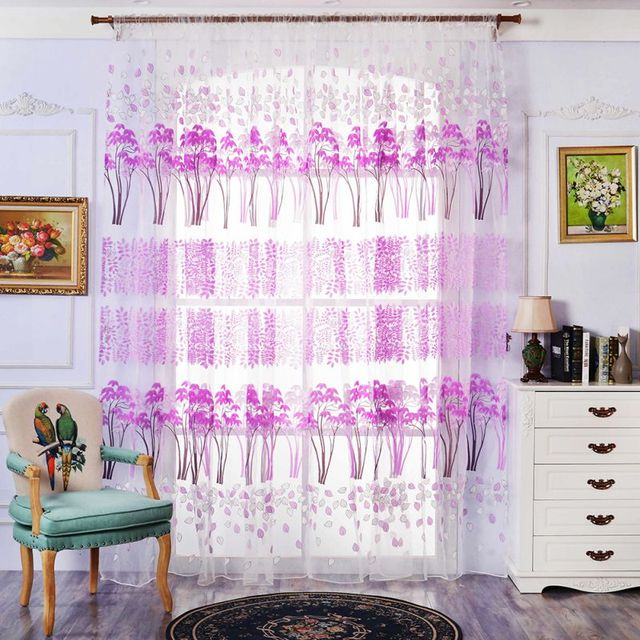 Aliexpress.com : Buy Home Branches Printed Tulle Curtain Household ...