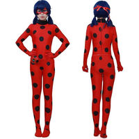 Anime Miraculous Ladybug Jumpsuits Halloween Cosplay Costume Prop With Mask Bag Christmas Gift Dress For