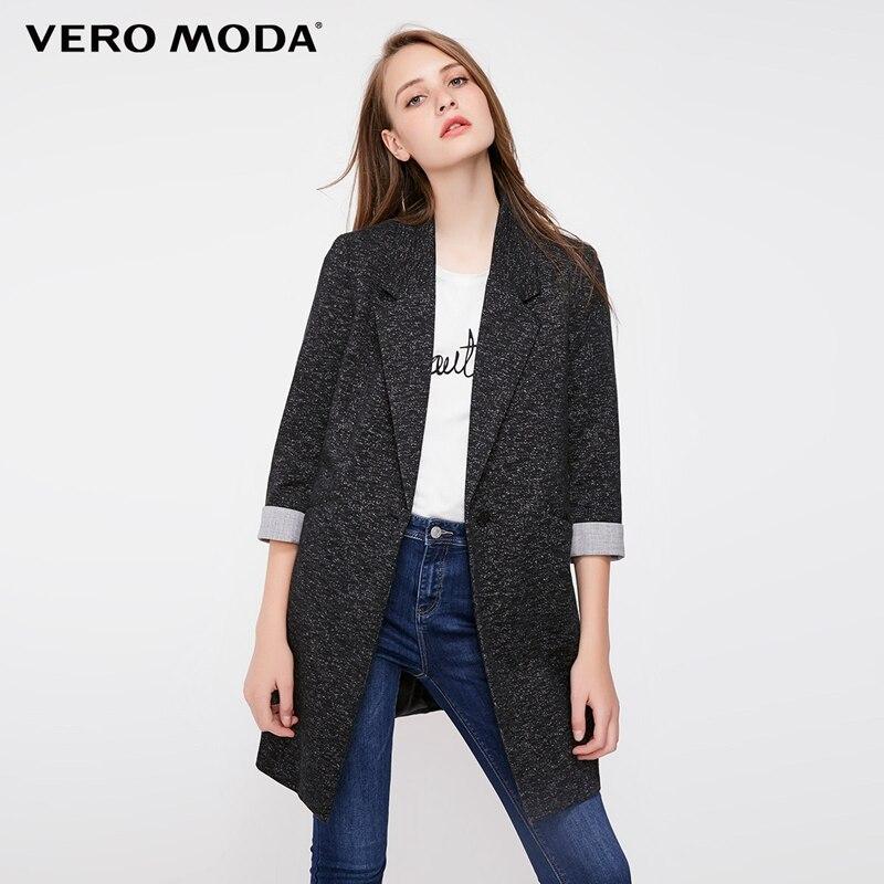 Vero Moda Women's Slim Fit Medium Length Single-Button Long Jacket Blazer|318308502