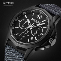 Megir Mens Watch Quartz Wrist Watches Canvas Analog Waterproof Luminous Chronograph Wristwatch for Man Male 2033