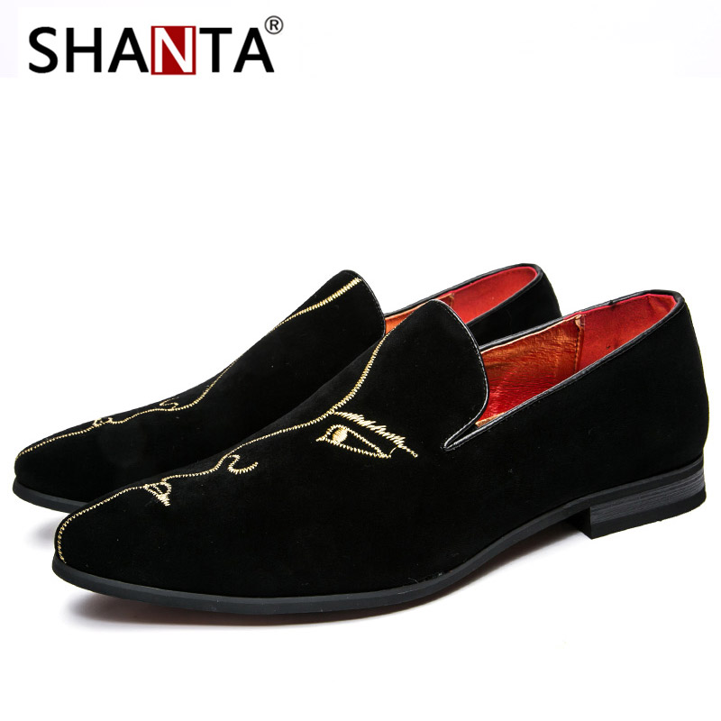 777b5ef116b Men s Fashion Suede Leather Embroidery Loafers Mens Casual Printed Moccasins  Oxfords Shoes Man Party Driving Flats EU size 38-45