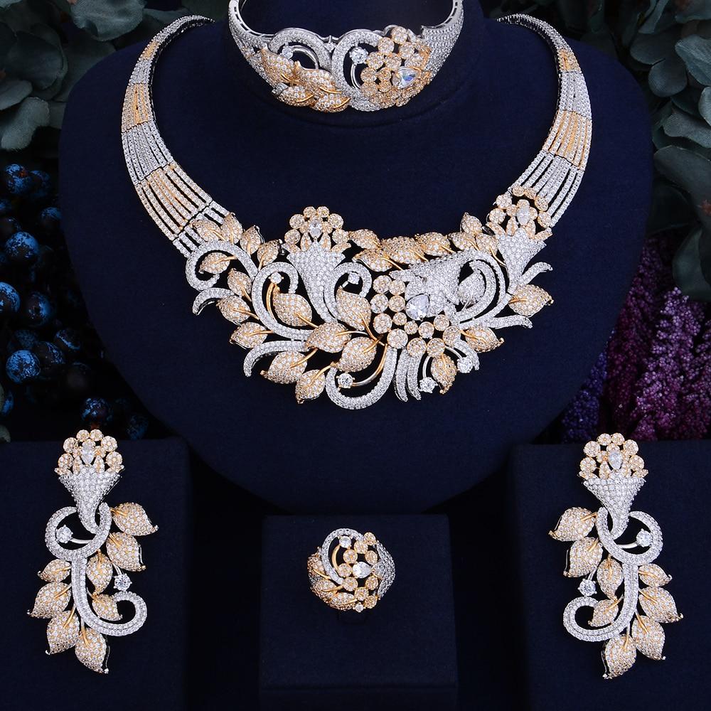 GODKI Célèbre Marque De Luxe Shinning Fleur Feuille Femmes De Mariage Naija Nuptiale Cubique Zircone Collier Dubaï Robe Ensemble de Bijoux