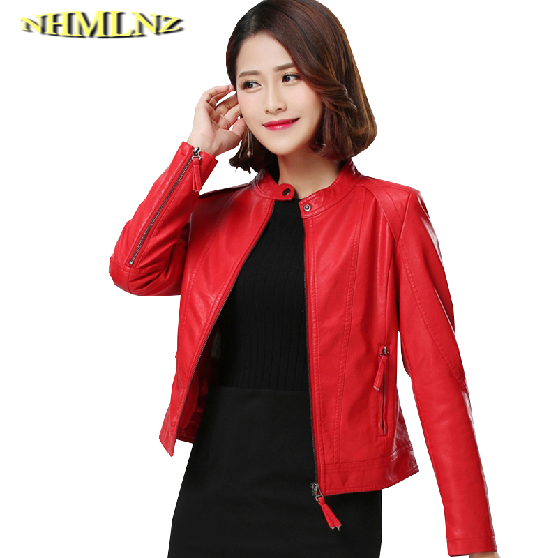 Spring Autumn New 2019 Short   Leather   Jacket Women Fashion Solid color Big size   Leather   Jacket Women Motorcycle PU   Leather   TN005