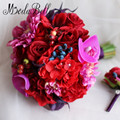High Quality Silk Flowers Artificial Wedding Bouquets Red Rose Purple Calla Lily Handmade Bridal Bouquet De Marie