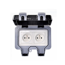 250 V16A  Wall Waterproof Dust-proof Power Socket, Double French Standard Electrical Outdoor Outlet Grounded