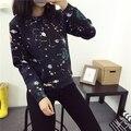 Cute galaxy stars printing hoodies women original loose cotton fleece universe graphic long sleeve spring autumn blouse hoodie
