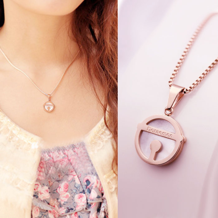 Yun ruo shell doraemon bell pendant necklace for woman girl gift yun ruo shell doraemon bell pendant necklace for woman girl gift titanium steel jewelry rose gold color free shipping not fade in pendant necklaces from aloadofball Image collections
