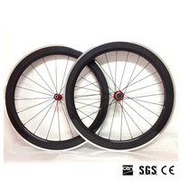 Catazer 700C 23mm Wide 60mm Clincher Road Bicycle Full Carbon Depth Wheelset With Alloy Aluminum Brake