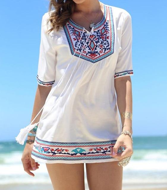 6288cf3610 Embroidery Cover Ups Sexy Women Kaftan Beach Tunic Dress Robe De Plage  Floral