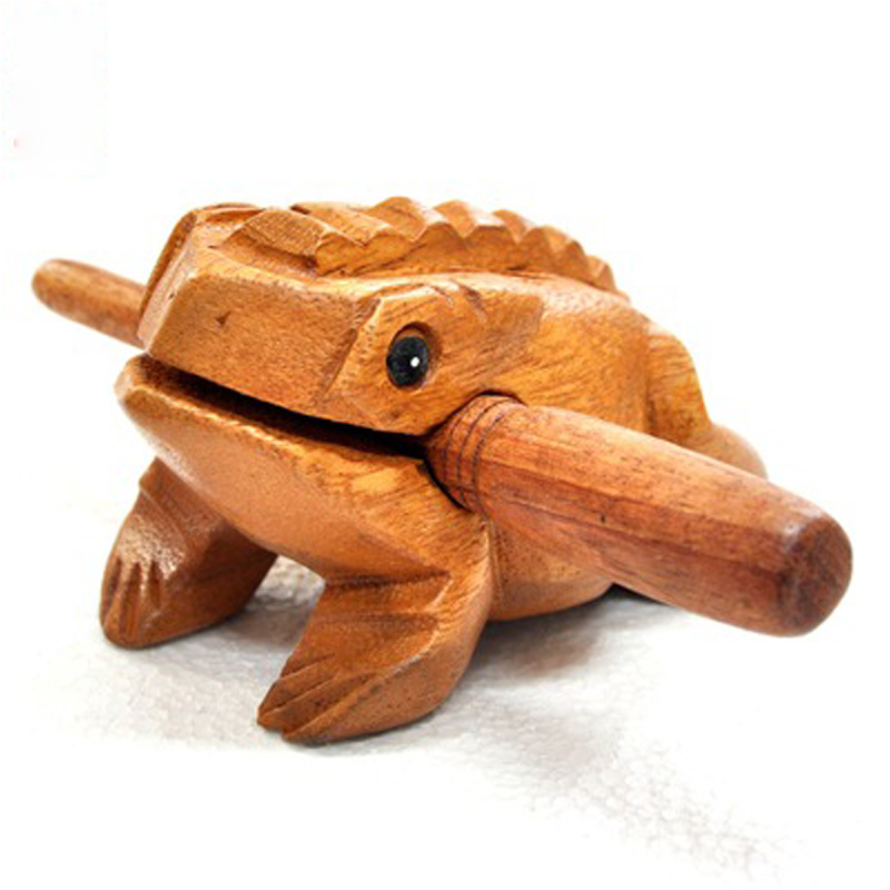 1 Set Traditional Musical Instrument Toys Wooden Frog With Wood Stick Kids Music Education Adult Stress Relief Toy