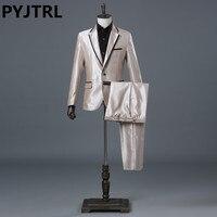 Jacket Pants Men S Champagne Business Wedding Stage Show Dress Slim Suit Costume Mens Classic