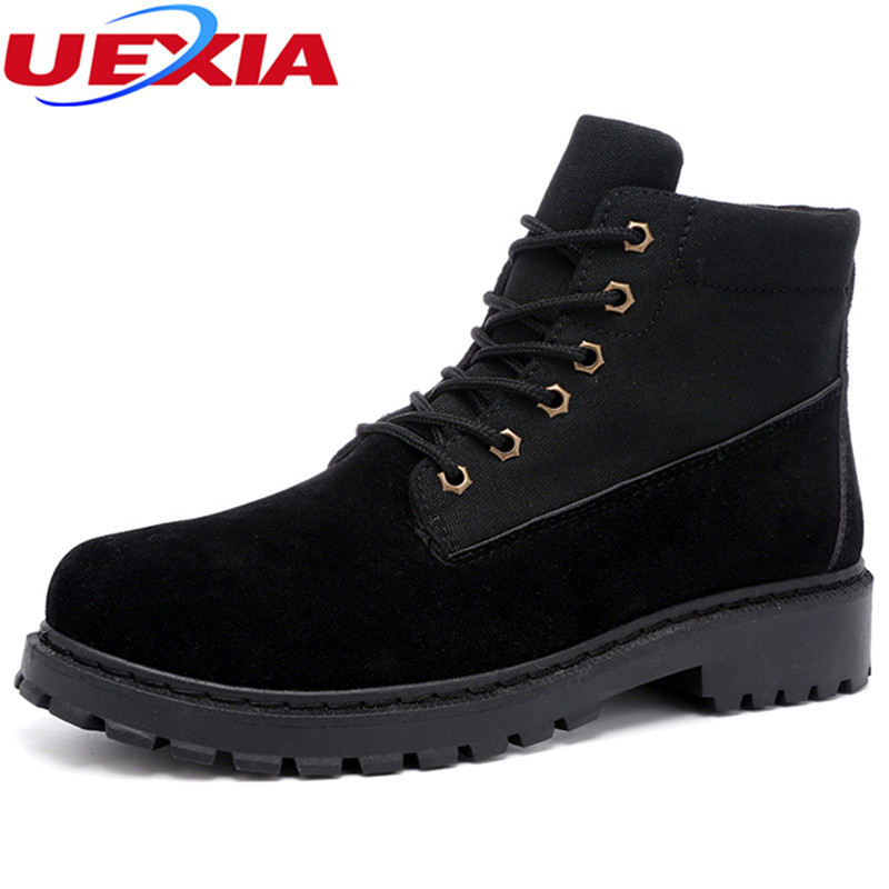 UEXIA New High Quality Men Working Boots Safety Shoes Men's Casual Work Footwear Fashion Non-Slip Walking Luxury Brand Ankle Bot male casual shoes soft footwear classic men working shoes flats good quality outdoor walking shoes aa20135