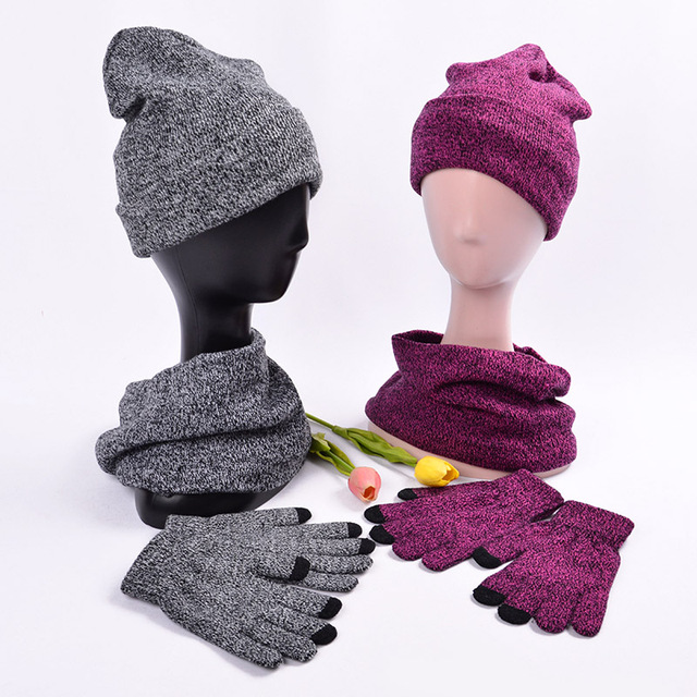 Winter Set Hat And Scarf Gloves Women Winter Hat Scarf Man Female Hat  Scarves With Touch 7099ecfba9b