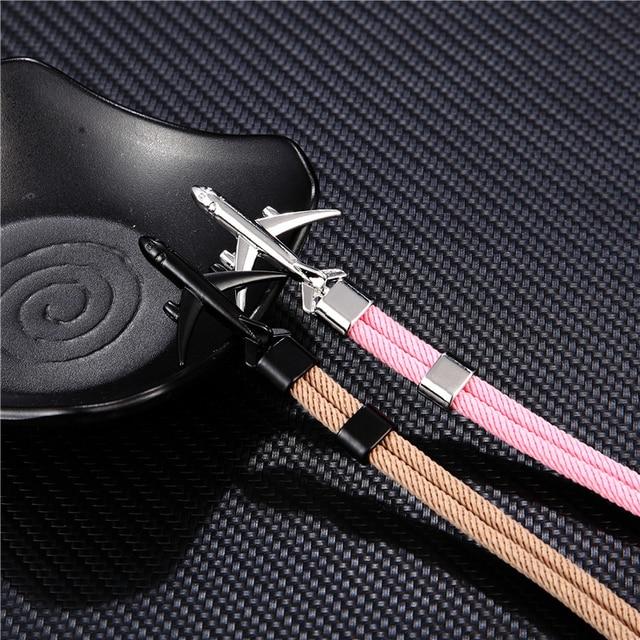 MKENDN Fashion Airplane Anchor Bracelets Men Charm Rope Chain Paracord Bracelet Male Women Air force style Wrap Metal Sport Hook
