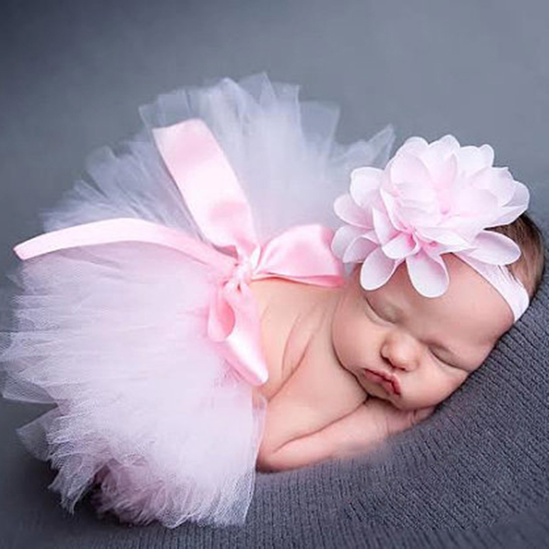 LEVEL GREAT Cute Princess Newborn Photography Props Infant Costume Outfit with Flower Headband Baby Girl Summer Dress