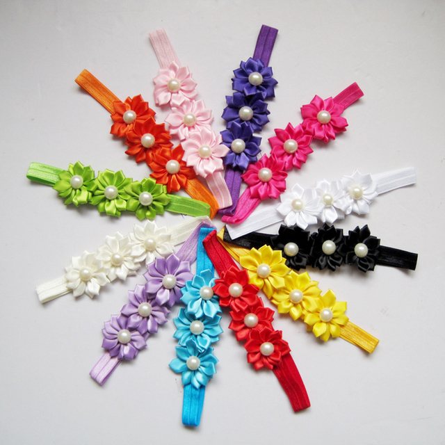 12color 12pcs/lot satin flower with 1.5cm sbaby headband kids hair ornaments girl hairband