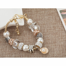 aiboduo Fashion Silver Charms Bracelet Bangle For Women Crystal Flower Beads Fit Brand Bracelets Jewelry Charm Bracelets B00050 mpb karolina fashion brand charm bracelets for women crystal