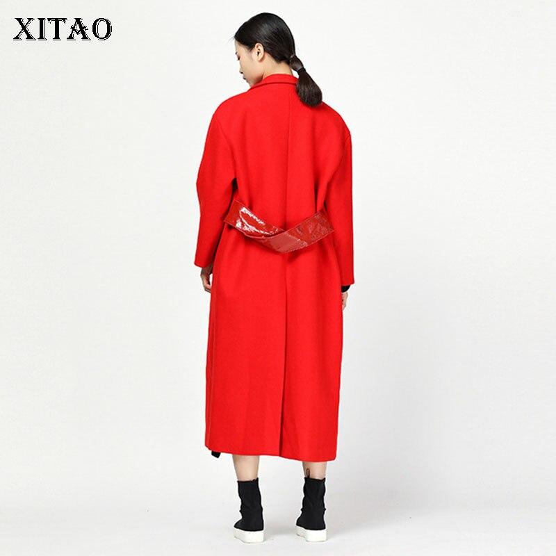 Zll2072 xitao Turn Mode Corée Lâche Red Collar Manches Femmes Single down Couleur Automne Pleine Breasted 2018 Solide Mélange De Nouveau xAzSUxr