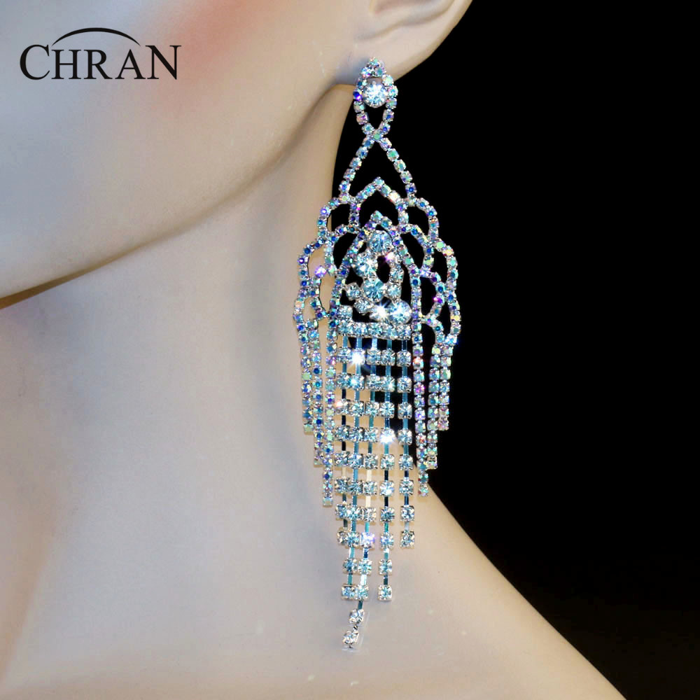 Chran Luxury Bridal Gold Color Ab Iridescent Rhinestone Crystal Wedding Prom  Dangle 55