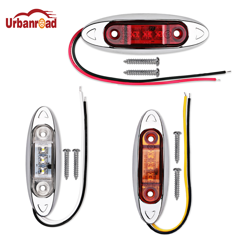 Urbanroad 10PCS 9-30V Waterproof Car Auto Side Marker Lights Clearance Lamp Trailer Truck Bus Car Signal lights 3 LED 12V 24V 2pcs car waterproof side marker light truck clearance lights trailer 3 led warning lamp bulb 12v