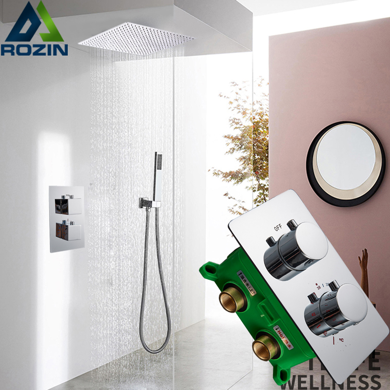 Ceiling Mounted 16 Rainfall Shower Mixer Set Thermostatic Mixer Valve Shower Faucet Mixer Tap Embedded Box