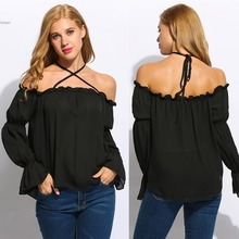 Women black halter Laceup Chiffon Blouse slash neck off shoulder Long Sleeve Shirts Casual Loose Sexy Tops Cover Up Blusas Femin