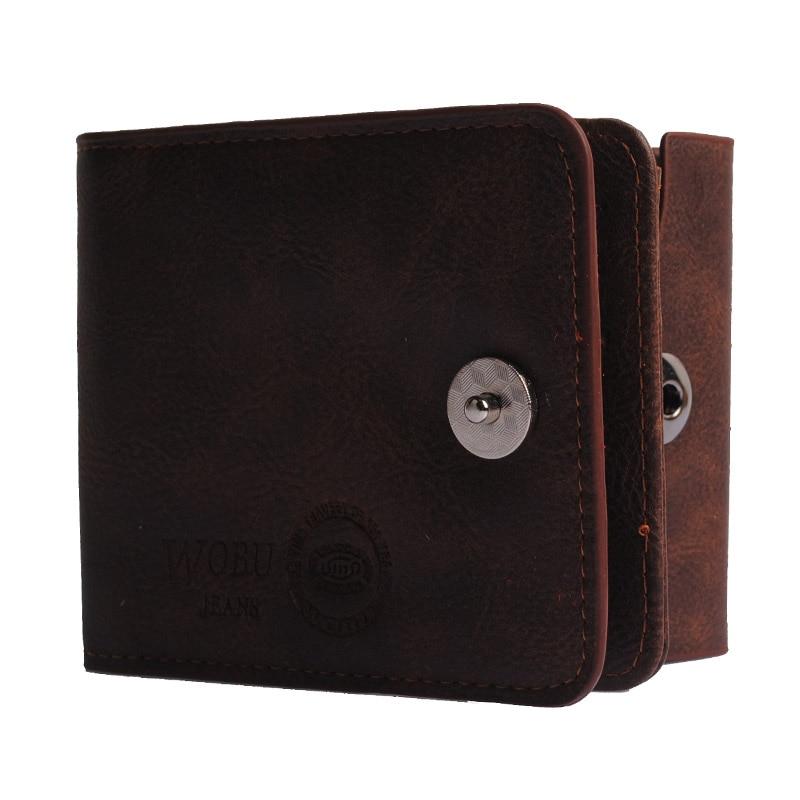 KUDIAN BEAR Solid Black Men Wallet Short Bifold Male PU Leather Bag Card Holder Men's Coin Pocket Dollar Price -- BID028 PR49 wb 1215 casual style magic pu dollar wallet black green
