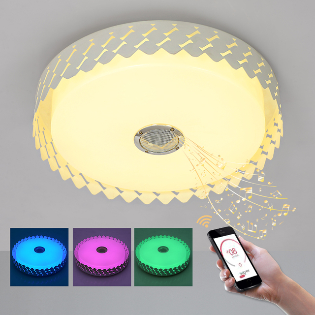 Aliexpress buy modern intelligent music chandelier rgb led modern intelligent music chandelier rgb led chandelier light with bluetooth ac90 260v ceiling lamp mozeypictures Image collections