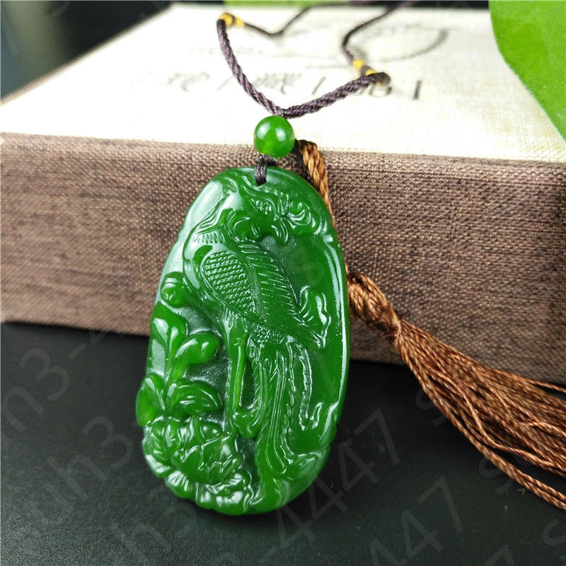 nature jewelry Green Jade Phoenix Necklace Charm Jewellery  Pendant  with gift boxnature jewelry Green Jade Phoenix Necklace Charm Jewellery  Pendant  with gift box