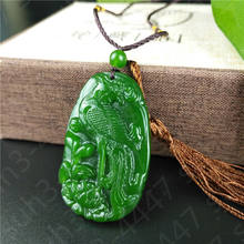 nature jewelry Green Jade Phoenix Necklace Charm Jewellery Pendant with gift box(China)