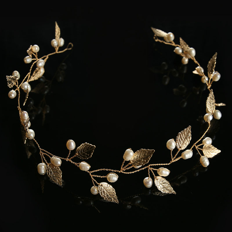 ACRDDK Gold Bridal Hair Jewelry Silver Pearl Leaf Headband Tiara de Noiva Headpiece Women Crowns Wedding Hair Accessories SL