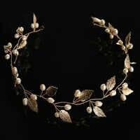 ACRDDK Gold Silber Perle Blatt Stirnband Diademe de Noiva Braut Haar Schmuck Kopfschmuck Frauen Ornamente Hochzeit Haar Zubehör SL