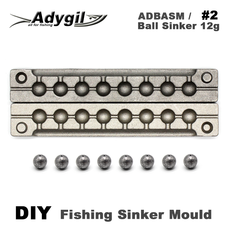 Adygil DIY Fishing Ball Sinker Mould ADBASM/#2 Ball Sinker 12g 8 Cavities