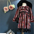 Toddler Girls tassel Floral Dress bohemian fringed Baby Casual dress for 2-7y Xmas Gift kids Spring/Autumn clothing